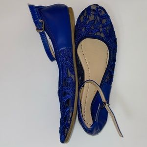 Blue lace flats with ankle strap